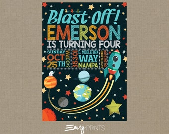 Space Invitation / Space Birthday Invitation / Rocket Ship Invitation / Outer Space / Outer Space Birthday / Astronaut Birthday Invitation