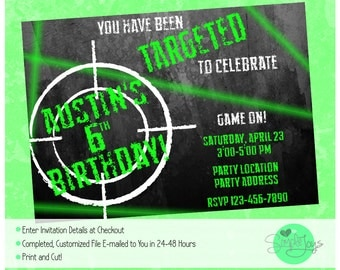 Laser Tag Birthday Party Invitation - Printable File - We Fill and You Print!