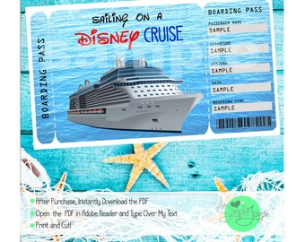 Disney Cruise Printable Ticket - Customizable Template, Digital PDF File - You Fill and Print