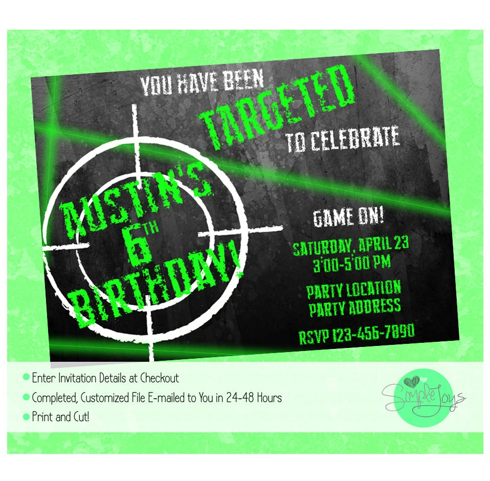 It's just a photo of Sassy Laser Tag Birthday Invitations Free Printable