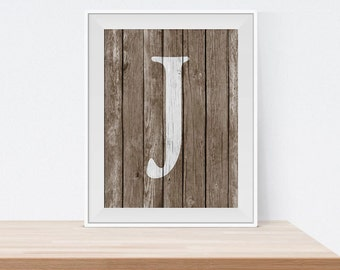 Letter J Wall Art Letter S Initial Print Printable Wall Art Rustic Wall Art
