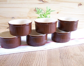 Set of 6 ramekins brown ceramic inside beige EMILE HENRY France | 3.5"