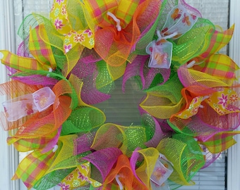 Spring Wreath, Summer Wreath,  Flower Wreath, Deco Mesh Wreath, Seasons Wreath, Ribbon Wreath,