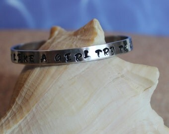 """I Run Like a Girl Try to Keep Up Cuff Bracelet aluminum engraved 1/4"""" x 6"""" Personalized"""