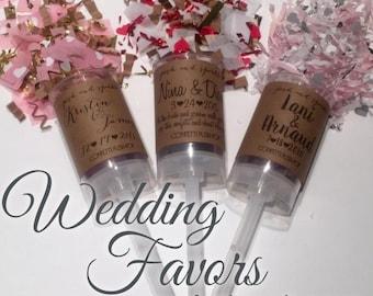 Set of 10 - Wedding Favor Confetti Push-Pops