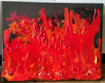 INFERNO melted wax on canvas 11x14