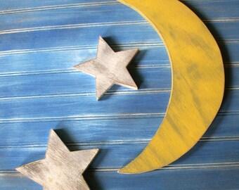 Wood Moon and Stars Sign, Nursery Decor, Rustic Moon Sign, Wood Moon Sign, Crescent Moon, Distressed Wood Moon, Shoot the moon,  Harvest
