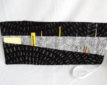 quilted hook case, crochet tool roll, crochet hook holder, crochet hook roll, black and white cotton fabric