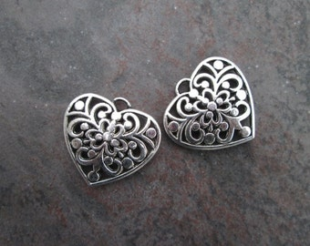 SALE Silver Filigree Heart Charms package of 2 double sided charms Valentines Day charms