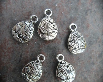 Lotus Charms package of 5 charms perfect for adjustable bangle bracelets Yoga charms Teardrop Shaped double sided