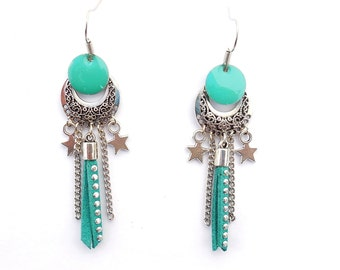 Earrings sequin enameled with Rhinestone suede turqoise