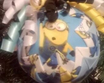 Handmade Minions quilted ornament ball
