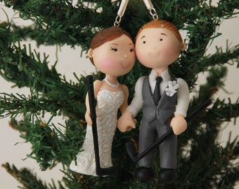 Small figurine. Hanging Ornament Bride and Groom holding hands. Handmade. Fully customizable. Unique keepsake