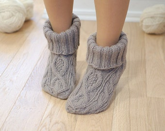 Slipper socks 100% wool booties cable knit - Chunky woolen socks hand knitted