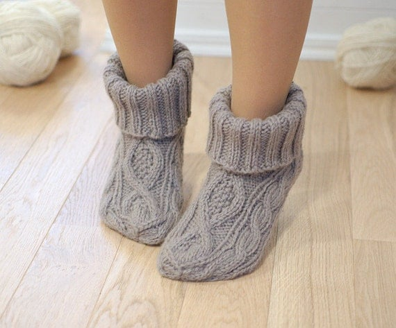 Slipper Socks 100 Wool Booties Cable Knit Chunky Woolen