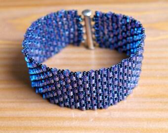 Blue Iris Peyote bracelet, colorful bracelet, Wide cuff, beadwork, seed bead jewelry, beadwaving, SALE, gift for her, original
