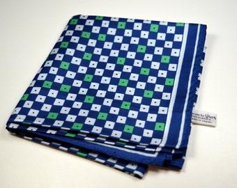 Vintage Retro Vera Scarf Blue Green White Square Design Signed Vera Japan Vintage Scarf Vintage Fashion Retro Fashion Square Design Pattern