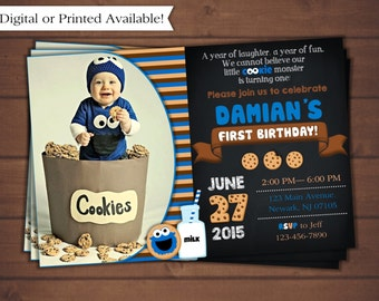 Cookie Monster Birthday Invitation, Cookie Monster Digital Invitation, Cookie Monster Printable Invitation