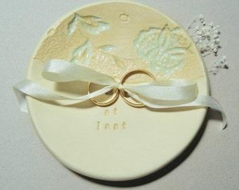 Wedding Ring Dish, Ring Plate, Ring Bearer Bowl, Ring Dish, Wedding Ring Holder, Ring Holder, Vintage Lace, Silk Ribbon, Aqua, Gold