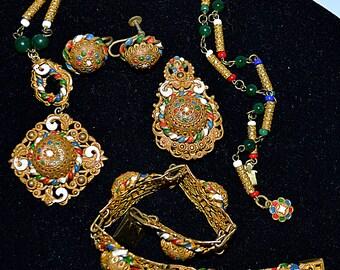 Vintage Byzantine Style Enameled Parure Pendant Necklace Bracelet Brooch Earrings Czechoslovakia