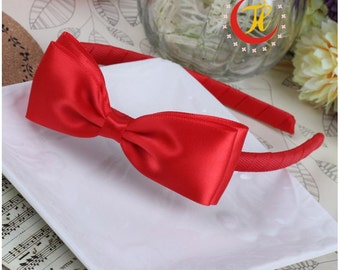 Kids Hair Accessories Hot red color Double Layer Ribbon Bow Hairband For Girls/Baby Girls