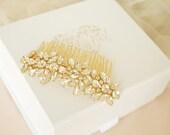 April Gold Hair Slide  Hair Comb Crystal Vintage Wedding Hair Slide Bride Great Gatsby Vintage Glam Rhinestone Pearls Bridesmaid