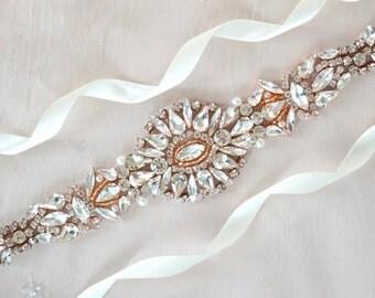 Rose Gold Wedding Dress Sash - Vintage Wedding Dress Sash - ANTIGUA ROSE GOLD