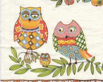 """One pack (20 pieces),decoupage napkins , 3-ply    33x33cm  """" Owls """" napkins scrapbooking Set of 2(two)"""
