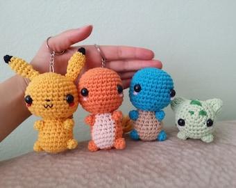 Charmander, Bulbasaur, Squirtle, Pikachu, Pokemon keychain