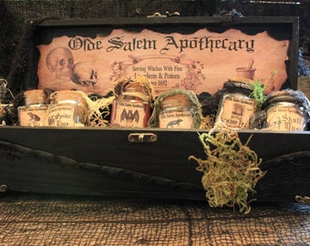 """Custom Order Handmade Halloween Decoration """"Traveling Potion Kit"""", Wooden Box Filled With Must Have Potions For Any Witch!"""