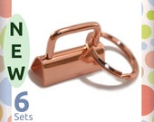 "1-1/4 Inch Deluxe Key Fob Hardware, Shiny Rose Gold / Copper Finish, 6 Sets, 1.25"" Purse Handbag Hardware Jewelry Supply, KRA-AA007 New Item"
