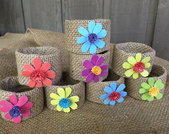 Burlap napkin rings/colorful paper napkin rings/ napkin rings/ tablescaping/ party accessory/ table decor/ tablescape/ rings for napkins