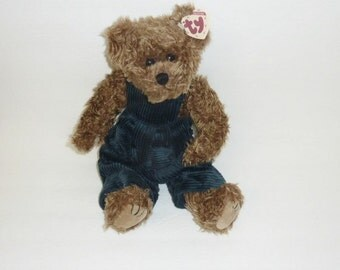 Vintage Large Ty Beanie Babies GROVER 1993 Original Ty Beanie Baby Brown Bear Blue Jumper Stuffed Animal Plush Toy Collectible