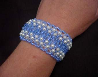 Blue-white color pearl-crystal wide beadwork bracelet, seed beaded bracelet, crystal bracelet, pearl bracelet