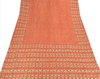 KK Pure Silk Saree Dark Orange Printed Sari Craft Fabric