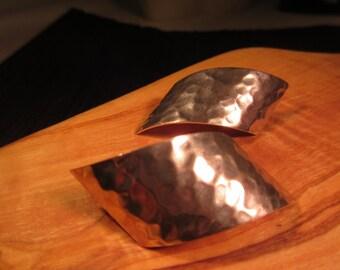 Modernist Hammered Sterling Silver Earrings
