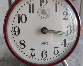 Japy alarm clock  French vintage clock  Small red alarm clock  Vintage alarm clock