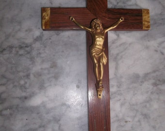 French vintge wall crucifix  Wood cross with brass Jesus figure  INRI Brass inlay