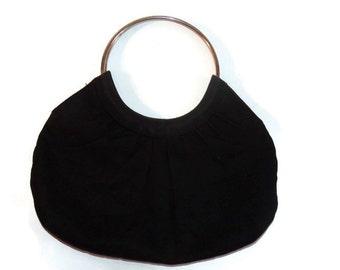 vintage handbags - boho handbag - fabric handbag -black purse -  70s handbag