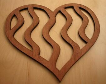 Heart Art Wall Decor, Wooden Whimsical Heart Design, Valentine Gift, Rustic Wood Heart Wall Decor, Hearts,