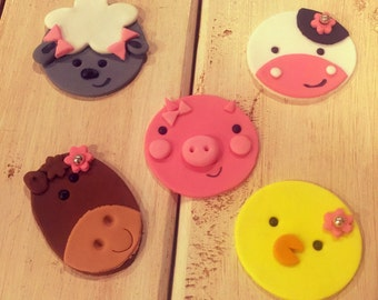 Farm Animals Fondant Cupcake Toppers