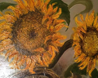 Vintage Very Nice Original Oil Painting, Sunflowers, Signed by Artist