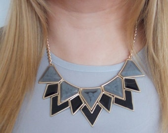 Grey and Black Geometric Statement Necklace -UK SELLER