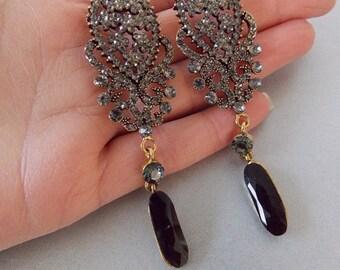 Grey Jewelled Glamorous Statement Earrings