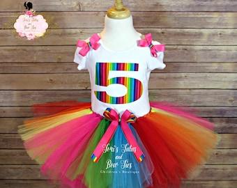 Rainbow Birthday Outfit.   Rainbow Birthday Tutu.   Rainbow Tutu. Tutu Set. Birthday Tutu. Girls Birthday Outfit.