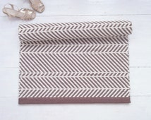 Brown and ivory cotton rug, chevron rug, soft and thick, reversible, handmade on the loom, made to order