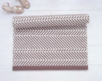 Brown and Ivory Rug, Chevron Rug, Zigzag Rug, Asymmetric Rug, Cotton Rug, Soft and Thick, Reversible, Handmade on the Loom, Made to Order
