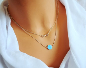 Layered opal necklace. SET of 2. Opal necklace. Layered sterling silver. Infinity layered necklace. Layered necklace. Blue Opal. White opal