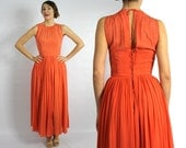Vintage 50s Orange Sherbet Silk Evening Gown Chiffon Party Dress, Extra Small