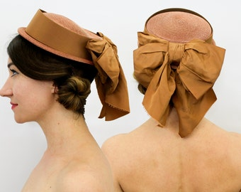 40s Straw Boater Hat | Brown Boater | Taffeta Bow | Best's Apparel